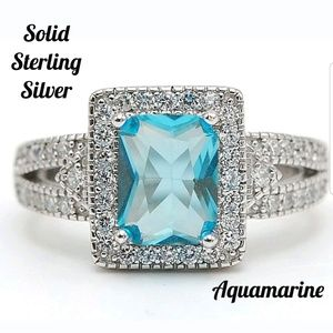 2 CT Aquamarine Sterling Silver Ring 7